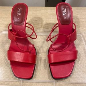 Zara Red high heeled leather sandals
